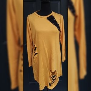 New Ripped Distressed Long Sleeve Top Size S & M